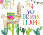Watercolor No Drama Llama Alpaca Cute Clip Art Png Hand Etsy Clip Art Free Clip Art No Drama