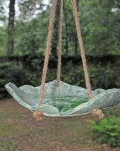 Leaf Impressed Bird feeder Using Low-fire Blackjack Clay