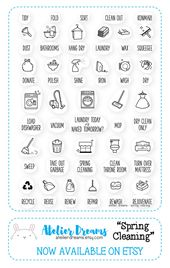 AD-002 SPRING CLEANING – Planner Stamps (Photopolymer Clear Stamps) laundry stamp, cleaning stamp, chores, spring cleaning