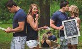 Frau überraschte Ehemann mit Schwangerschaftsnachrichten während des Fotoshoot…