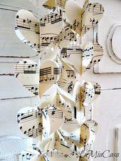 Guirlande de coeur en papier, ornament mariage, Saint Valentin, St. Valentin, musique, fete