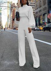 Fashion Bishop Sleeve Pure Colour Half Collar Jumpsuits