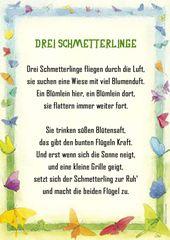 Schmetterling Gedicht Kindergarten Erzieherin Kita…