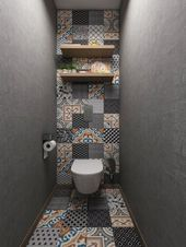 Bathroom with a slim shower cubicle. This little shower was transformed into a … #badecke #die …