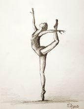 'Ballett Tänzerin Zeichnung' Framed Print by web-werker