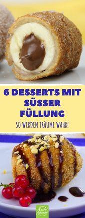 6 postres con relleno dulce. ¡Así es como los sueños se hacen realidad! # recetas # postres # helado …   – Desserts – Nachtisch – Nachspeise