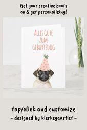 Funny Pug Dog German Happy Birthday Pun Alles Gute Card German Birthday Germany Allesgute Funny Card Birthday Puns Pugs Funny Cards