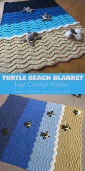 Baby Blanket Turtle Beach Blanket Free Crochet Pattern #freecrochetpatterns #crochetblanket #...
