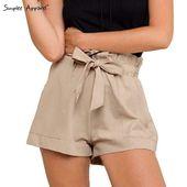 Calça Shorts für Frauen Sommer Casual Beach Fashion High Belt Girls | eBay