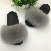 Fluffy Fox Fur Slippers