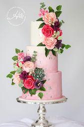 Rosa Hochzeitstorte, Luxus-Hochzeitstorte, bunte Hochzeitstorte, elegante Hochzeit …   – Wedding Cakes – Hayley Elizabeth Cake Design