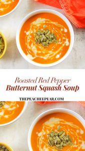 Gebratene Butternut-Kürbis-Suppe des roten Pfeffers