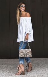 Street Style Look mit Schulter an Schulter Bluse. trendfashion bohochicoutfitssum … – Fall Outfits Women 30s