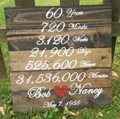 Bruiloft verjaardag hout Sign – jaar maanden weken dagen uren minuten van het huwelijk – aangepaste – 60e verjaardag partij – 50e verjaardag