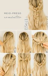 Romantic half-up hairstyle tutorial for the party – Stock Images