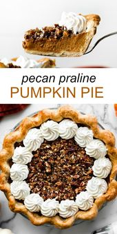 This pecan praline pumpkin pie features my favorite flaky buttery pie crust, smo…