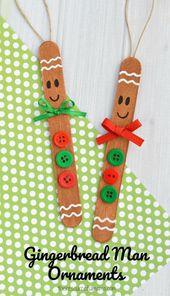 Craft Stick Gingerbread Man Ornament