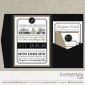 New Years Eve Wedding Invitation, Black and Gold Wedding Invitation, NYE Wedding Invitation, …