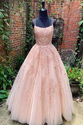 Rosa Tüll Spitze langes Abendkleid, rosa Tüll Sp…