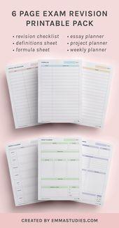 Prüfungsrevisionsstudie druckbar von Emmastudies   – PRINTABLES