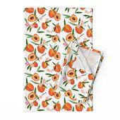 Pfirsiche Geschirrtücher (2 Stück) – Simply Peachy von mulberry_tree – Sommerfrucht Pfirsich Orange und Gree   – Products