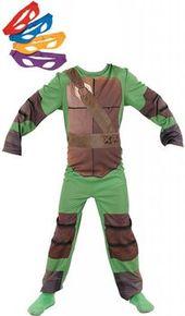 le costume tortue ninja deluxe par rubies comporte une combinaison de tortue ainsi que 4 bandeaux