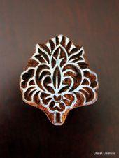Handcarved Indian Wood Textile Stamp Block – Art Nouveau floral motif   – others