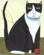 Tuxedo Cat Art, Cat Folk Art, Cat Print, Primitive Cat, Cat and Yarn, Naive Art, Whimsical Decor, Black and White, Funny Wall Art, Cute – идеи занятия