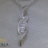 14K White Gold Diamond Pendant,Unique Pendant,Marq…