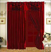 Details about 3-Layer Modern Flock Satin Black Burgundy Red Faux Silk Curtain Set