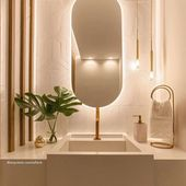 """Photo of Mosarte on Instagram: """"For the layout of the toilet, @ arquiteta.camilafleck made a mix between light colors, golden details, wood and spot lighting…"""""""