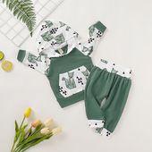 Baby/ Toddlers Fox Print Pocket Hoodie Pants 2 Pcs Set