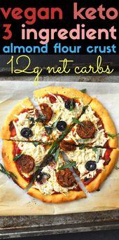 Veto Keto / Paleo / Recetas bajas en carbohidratos - Pizza - Corteza de harina de almendras (sin lácteos, ...