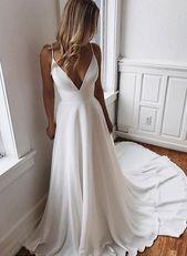 Weißes langes Kleid aus Chiffon-Spitze mit V-Auss…