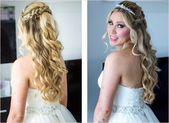 Bridal hairstyle pinned up with veil and tiara