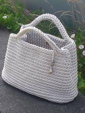 Kurze Griffe Häkeltasche, Sommer-Strand-Tasche – stylische gestrickte Handtasche