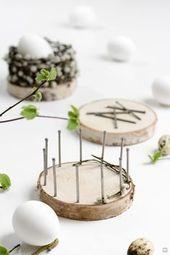 Paniers de Pâques tressés avec des disques d'arbres