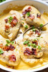 Pollo cremoso de miel y mostaza con tocino   – Rezepte