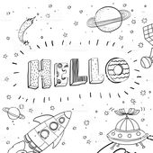 Nursery poster with hand drawn letters Hello and Space ships,…