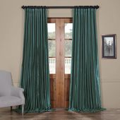 Exclusive Fabrics & Furnishings Peacock Blue Blackout Extra Wide Vintage Textured Faux Dupioni Curtain – 100 in. W x 108 in. L-PDCH-K14BO108DW