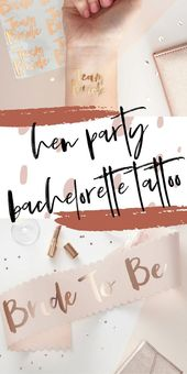 Team Bride Hen Party Bachelorette Party Rose Gold Temporary Tattoo, Wedding, Hen Party, Bache…   – Tattoo