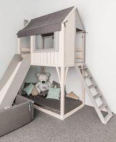 Loft-Bett, Spielhaus, Kinderbett, Etagenbett für Kinder, Kindermöbel, Etagenbett, handgefertigt, Innenarchitektur, Bettwäsche, Holz, Bettrahmen, Baumhaus