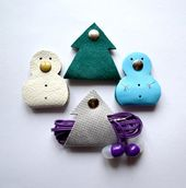 Leather cable wrap Christmas stocking filler Earphone snowman tree gift christmas Holder Cable Organizer Earphone organizer earbud holder