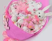 Lot von Spielzeug / Bouquet für Freundin / Baby Mädchen Geschenk / Baby Shower Geschenk / lila Bouquet   – Cadeau pour bebe