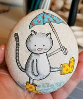 50 Best DIY Painted Rocks Animals Cats for Summer Ideas