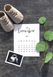 Personalized Baby Due Date Custom Printable Calendar –       it'saboyannouncemen…