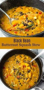 Black bean with sweet butternut squash and collard greens make this healthy stew…