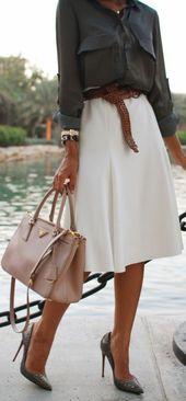 La corolle de jupe pour une silhouette avec auréole #aural #corolle #silhouette   – White shirt