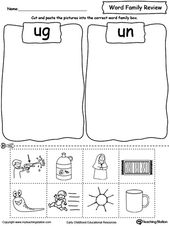 Word Family Review Picture Sorting UG/UN – Phonics Worksheets