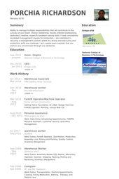 Warehouse Resume Samples Visualcv Resume Samples Database